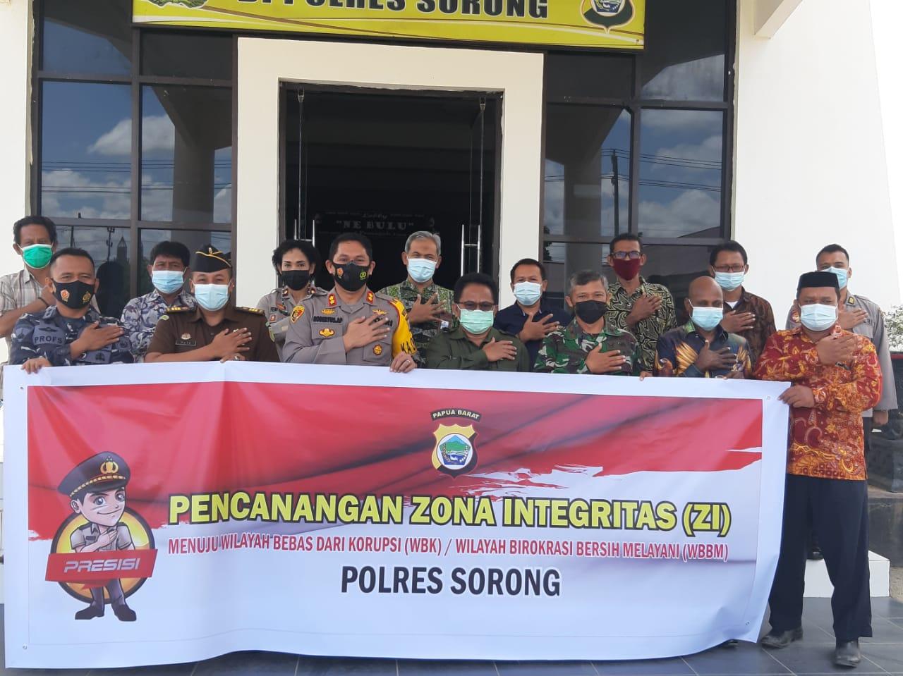 Polres Sorong Gelar Kegiatan Deklarasi Pencanangan Zona Integritas (ZI) Menuju Wilayah Bebas Korupsi (WBK)