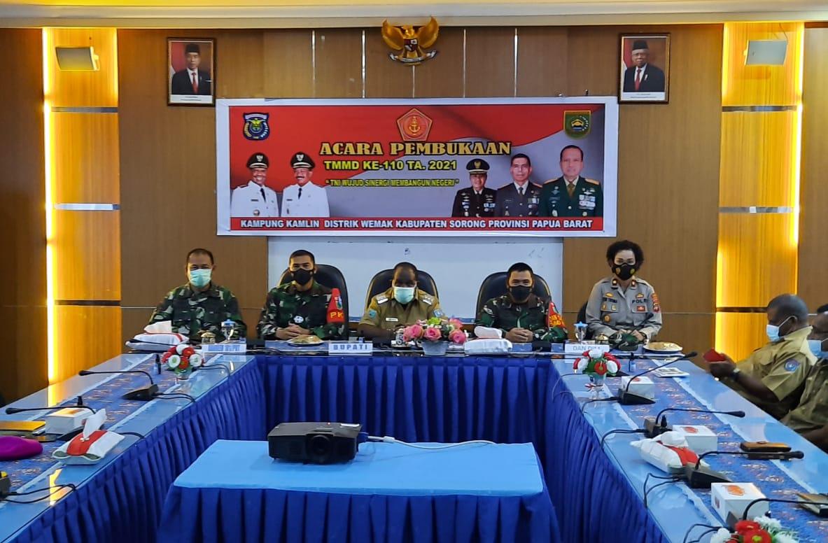 Kapolres Sorong Di Wakili Waka Polres Sorong Hadiri Pembukaan TMMD ke-110