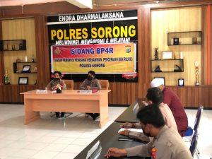 Polres Sorong Melaksanakan Sidang BP-4R Dengan Menerapkan Protokol Kesehatan