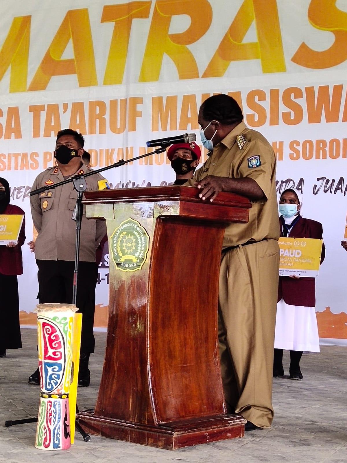 Kapolres Sorong Hadiri Pembukaan Masa Ta'aruf Mahasiswa (MATRAS) Universitas Pendidikan Muhammadiyah Sorong Angkatan 2021.