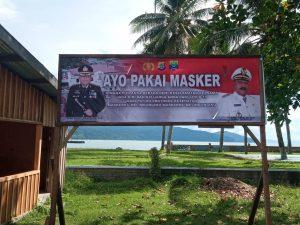 "Kabag Ops Polres Sorong Pimpin Pasang Baliho ""AYO MAMAKAI MASKER"""