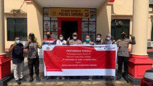 Lagi, Polres Sorong terima bantuan 100 paket Sembako Dari Pertamina EP Untuk Disalurkan ke Warga
