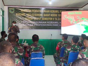 Kapolsek Aimas Pemberian materi Organisasi Polsek pada Kegiatan pendayagunaan Koramil